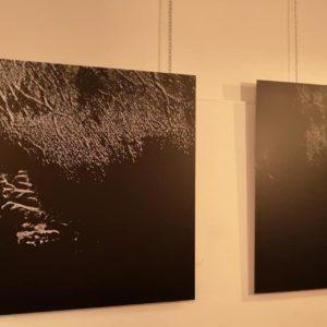 due mie opere durante l'esposizione nella galleria emergente MONTI 57